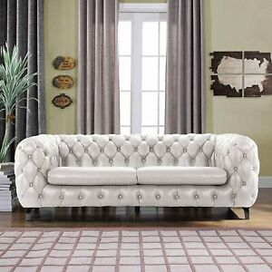Details about Modern Club Frame Sofa Real Leather Match Tufted Chesterfield  Couch, Ivory