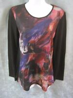 Linea Domani Sweater Size Small Abstract Print Lightweight Pullover