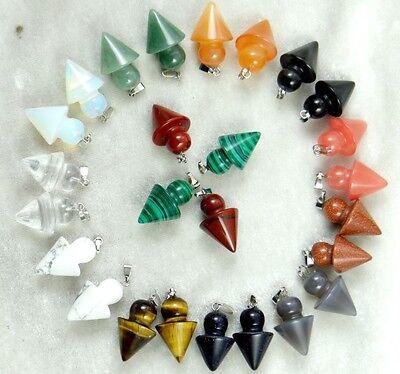 Mixed agate Healing Reiki Chakra Physical Pendulum pendant Gemstone Loose Beads