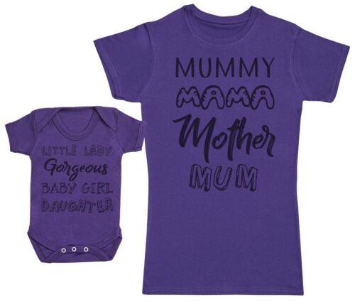 Womens T Shirt Baby Girl Wording /& Mummy Wording Matching Mother Baby Gift Set