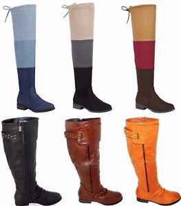 Women-039-s-Multi-Color-Chaud-Hiver-Cavalieres-Hautes-Plates-Bottes-Chaussures-SZ-5-10