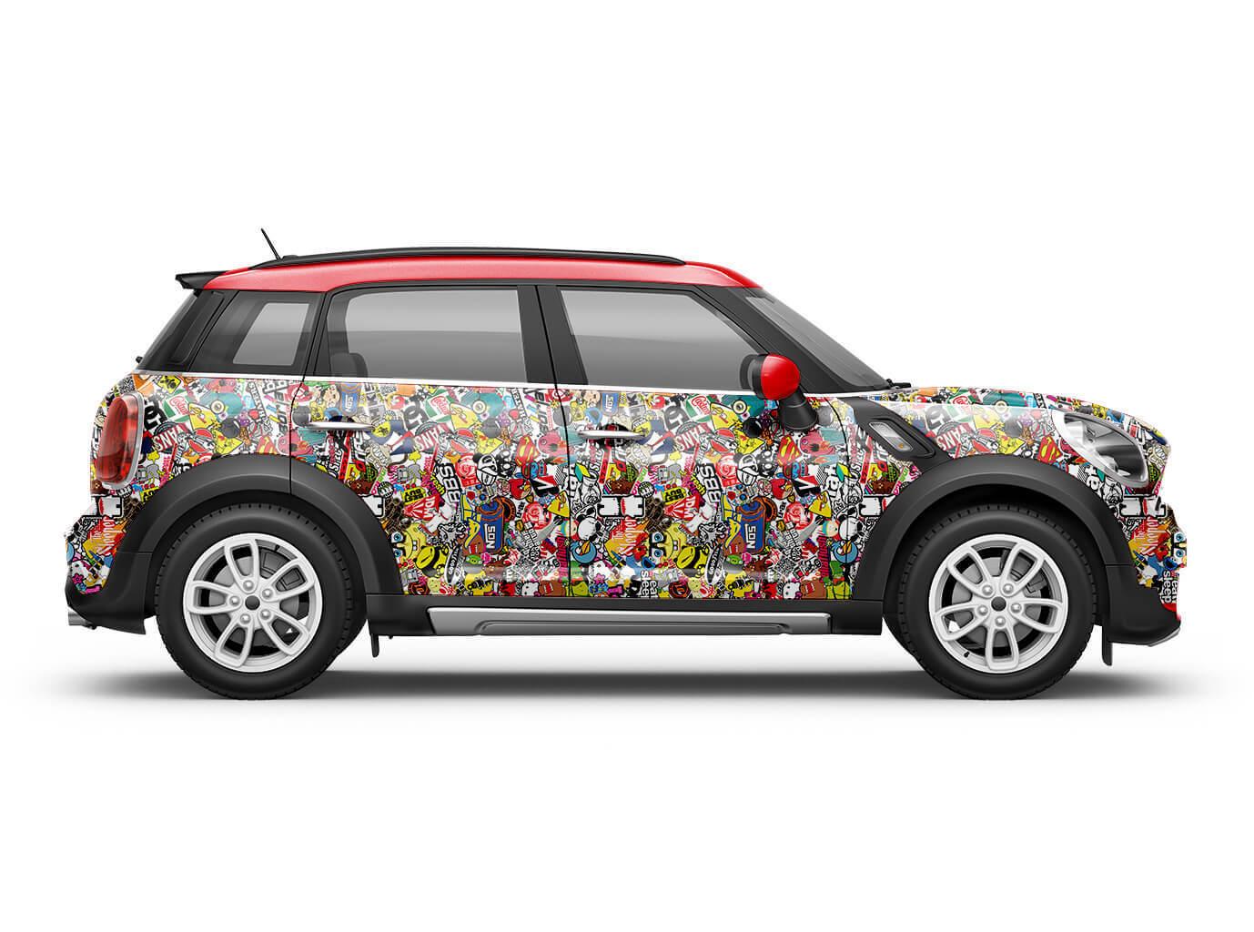 Sponge Stickerbomb auto-Film Brillant Brillant auto-Film 3d car wrappping gaine Marques & Logos 0776f3