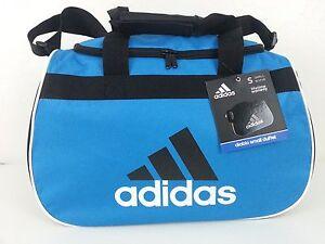 746e2e85f5 NWT Adidas Diablo Small Duffel Bag Blue Black White Sport Gym Travel ...