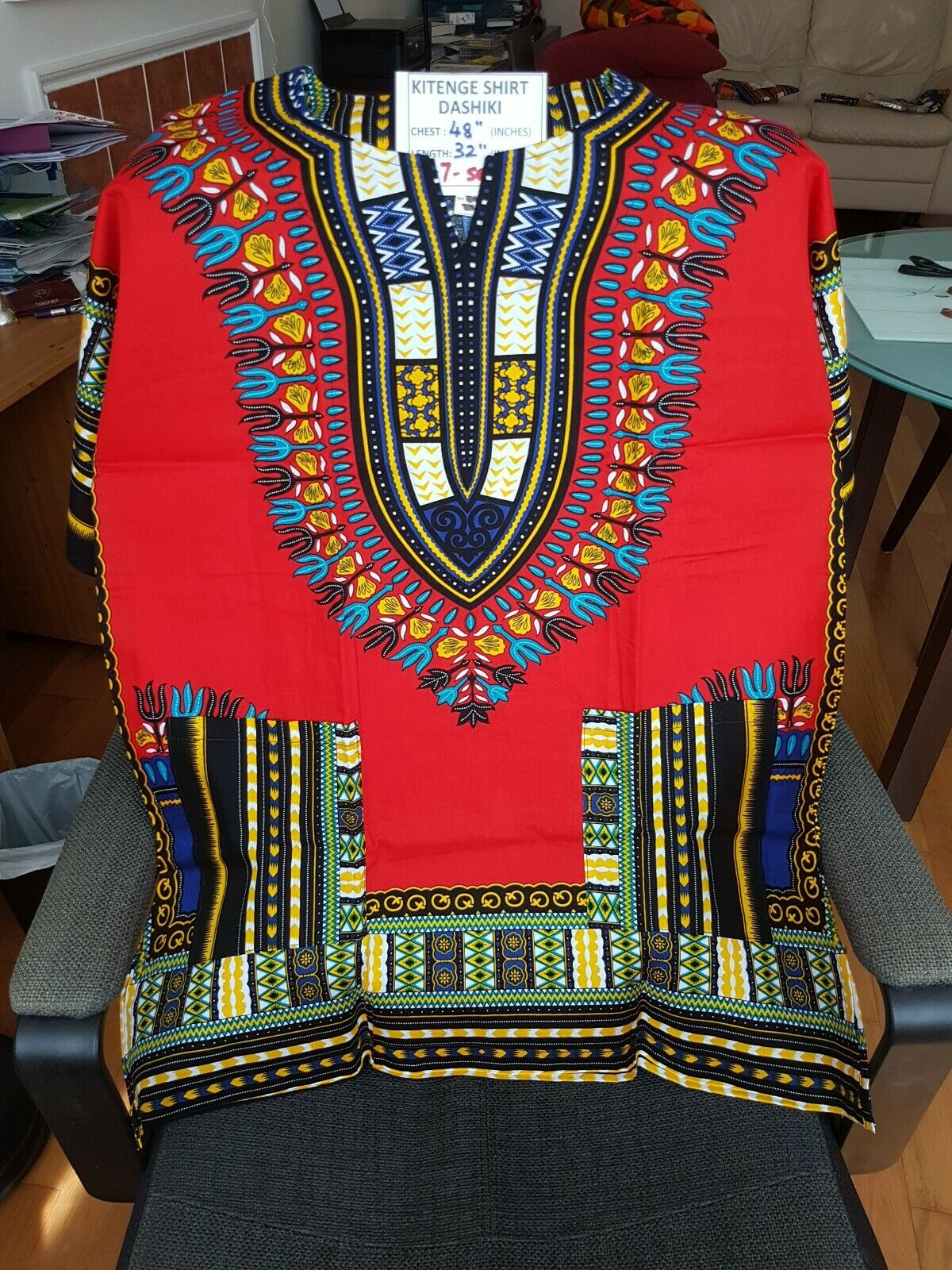 Dashiki African Tribal Print Blouse or Kitenge Top Shirt Red Size L No.7 UNISEX
