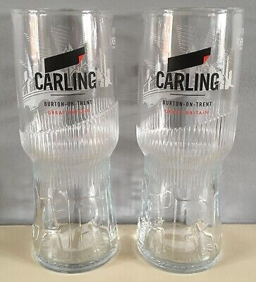 Carling Lager Half Pint Glasses x2 2019 New Design CE Marked New And Unused