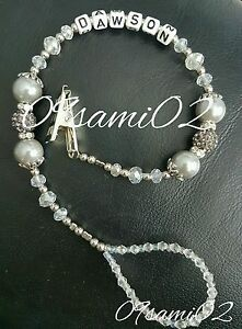 Personalised Baby Unisex ❤ Bling Dummy Clip,silver  Pearl /& Crystal ❤romany❤