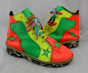 THOSE-SHOES-Tattoo-Bright-Neon-Star-Bolt-Handmade-Leather-Sneakers-7-Men-9-5-Wo