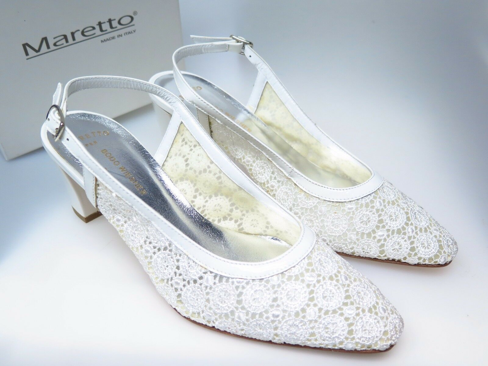 MARETTO  Designer Damenschuhe Chris 6956 Bianco Vernice F57 Gr. 37,5 NEU