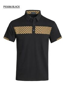 New-Mens-Short-Sleeve-Polo-Shirt-Slim-Fit-Stretch-Black-Brown-Beige-Checkered