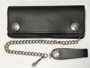 USA Made Buffalo Nickel Snaps For Bikers Black Leather Chain Wallet