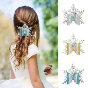 Christmas-Glitter-Hair-Bow-Snowflake-Hair-Clips-Hairpin-Barrette-Xmas-Girls-Kzs