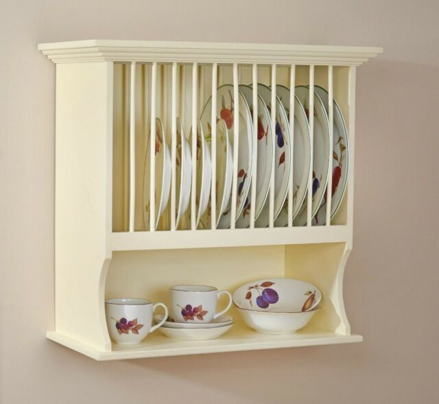 Country Kitchen Plate Rack Holder Dish Cup Bowl Shelf Unit Wall Mounted New