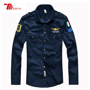 Men-039-s-Air-Force-Casual-Shirt-Fashion-Military-Army-Long-Sleeve-Dress-Shirts-Tops