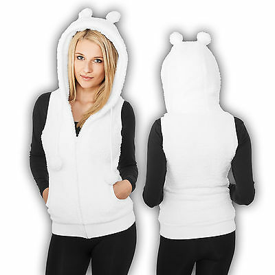 Urban Classics Women's Vest Teddy Vest Hoodie Sweater Teddy Ears Slim Fit XS-XL