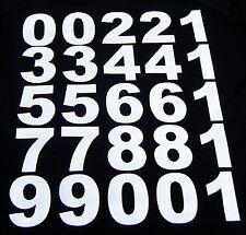 Hierro en las transferencias Big Bold 70mm. en material blanco para los números, t-shirts etc. etc.