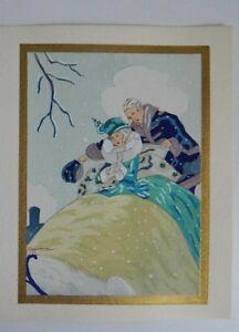 Gravure-ancienne-coloriee-au-pochoir-signee-Gaston-Marechaux-c-1930