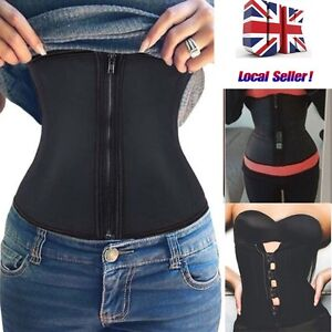 9c9078fb7 UK Women Waist Trainer Latex Belt Zipper Body Shaper Zip Corset ...