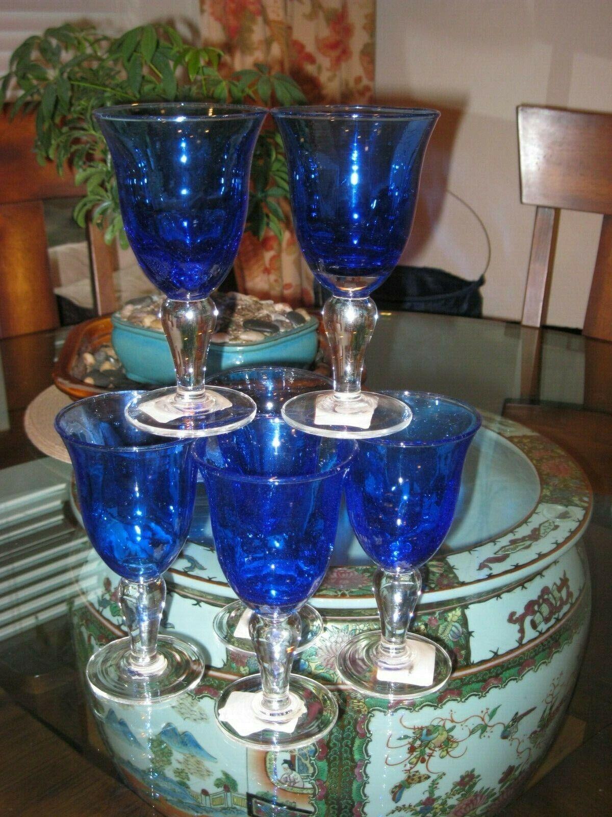 Set de 6  Neuf avec étiquettes et new without tags VIETRI Italien Main soufflé bleu cobalt eau gobelets