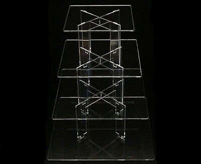 TK 4 Tier [Square] Clear Acrylic Birthday Party Wedding Cake Display Tower Stand