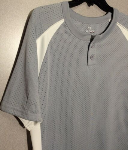 UGO Men/'s Performance Perforated Jersey Sport 1//4 Button Down Shirt