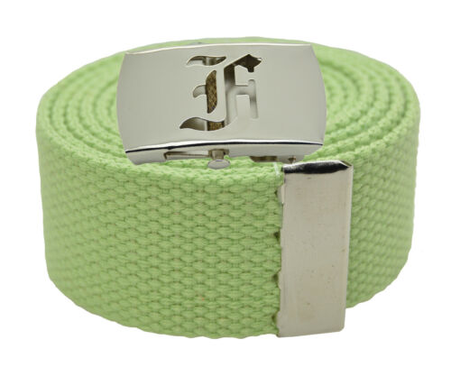 """54 60 Canvas Military Web Belt /& BIG /""""F/"""" Silver Buckle 48 72 Inches 25 Color"""