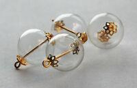 VINTAGE 4 HOLLOW GLASS BALL PENDANT BEADS BRASS HARDWARE 15mm