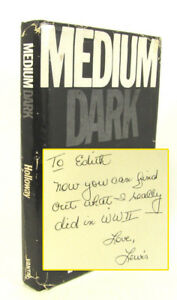 Medium-Dark-by-Lewis-J-Holloway-Signed-with-letter-amp-newspaper-clipping-1982