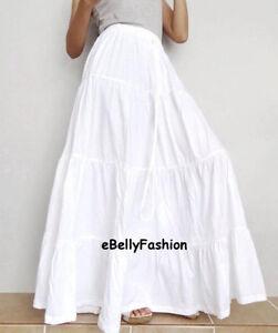 e79ac72692 Image is loading Ruffle-Long-Skirt-Cotton-Designer-White-Women-Casual-