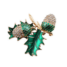 New Arrive Green Enamel Crystals Leaf Peanut Gold Pin Brooch