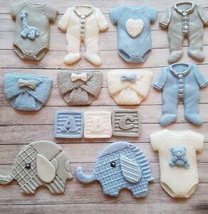 14 Bluewhite Grey Baby Boychristening Edible Cupcake Toppers