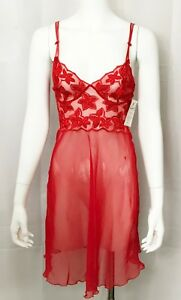 Millesia-France-Nightgown-Red-Embroidered-Sheer-Chiffon-Nightie-size-XSmall