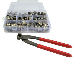 """211 Pcs 304 Stainless Steel Single Ear Hose Clamp Crimping Kit inc 8"""" Pliers"""
