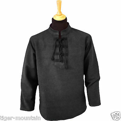 Thick Cotton Long Sleeved Lace Up Grandad Shirt in Black - Hippy Shirt, Free P&P