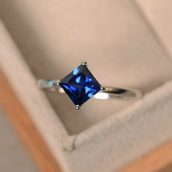 1.50 Carat Genuine Real bluee Sapphire Ring 14K Solid White gold Size 6 7 7.5 8