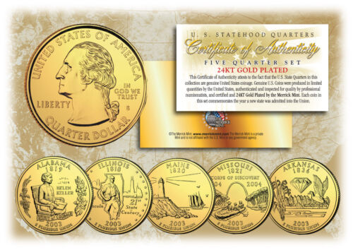 2003 US Statehood Quarters 24K GOLD PLATED ** 5-Coin Complete Set ** w//Capsules