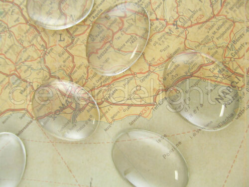 30x40mm Dome Pendant Cab Cameo Magnifying Clear 50 Glass Oval Cabochons