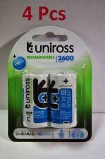 4 Battery Rechargeable LR14 R14 C 1.2V NiMh Séries 2600 2500mAh Uniross Accu
