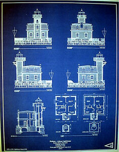 Hudson river new york lighthouse builders blueprint plan 17x2175 image is loading hudson river new york lighthouse builders blueprint plan malvernweather Image collections
