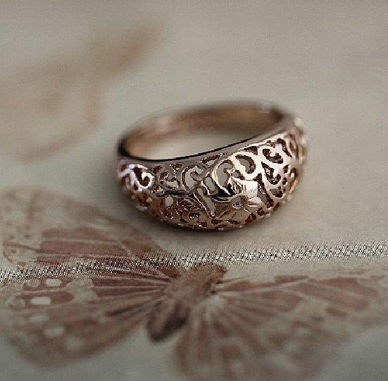 Antique Style New 18K Rose GOLD Filled Vintage Filigree Flower Ring Size 6 7 8 9