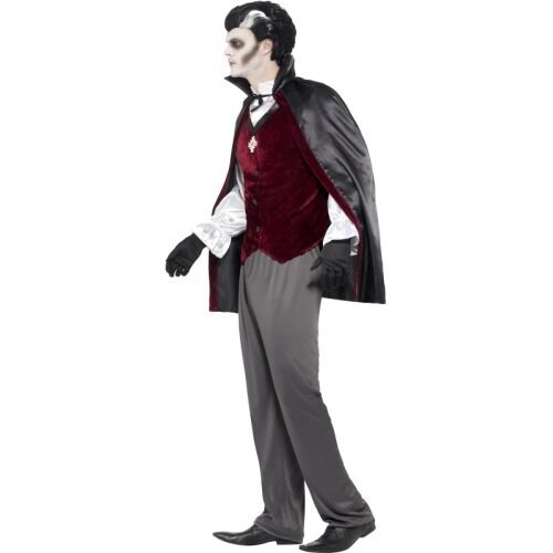 Mens Deluxe Vampire Costume Halloween Cape Shirt Gloves Medal Pants Adult L XL