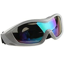Silver Frame Multi-Colored Lens Motocross Off-Road Dirtbike Goggles Eye Wear