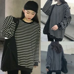Women-O-Neck-Long-Sleeves-Striped-T-Shirt-Flare-Sleeve-Tops-Loose-Blouse-NA