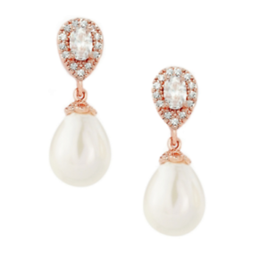 Image Is Loading Rose Gold Pearl Earrings Art Deco Style Wedding