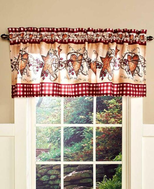 Country Primitive Hearts Stars Berries Folk Art Linda Spivey Blue Window Valance