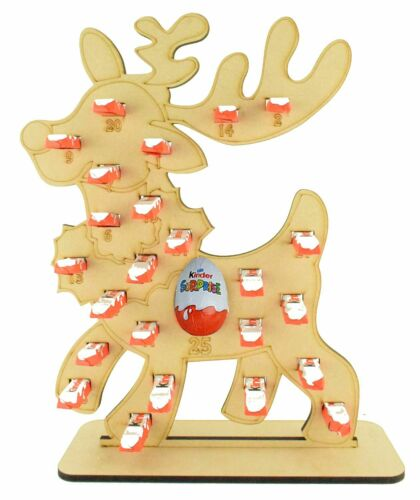 Childrens Reindeer Wooden Reusable Christmas Advent Calendar Chocolate Sweets