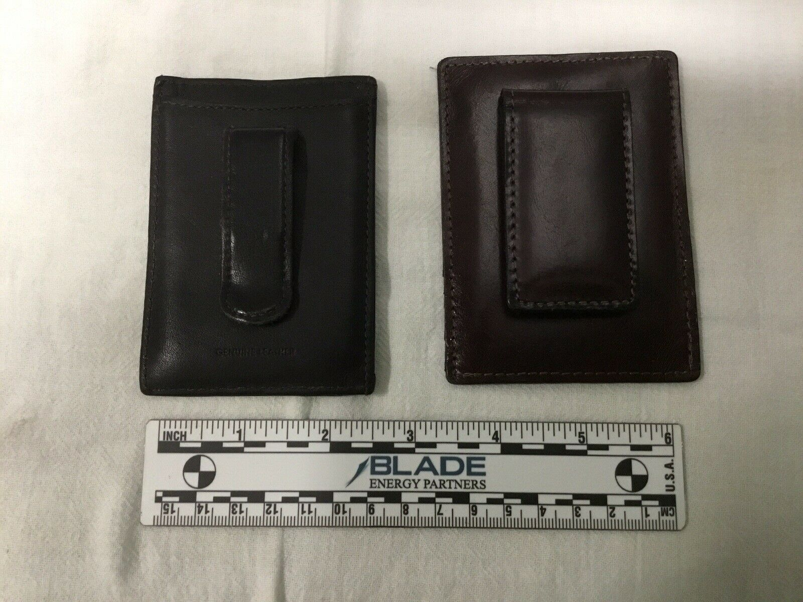 2 Men's Slim Leather Money Clip ID Card Wallets, New