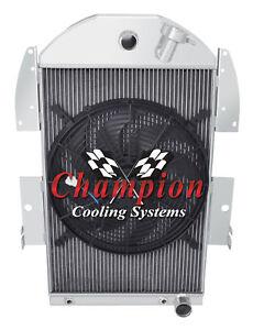 "1934 1935 1936 Chevrolet P/U Truck V8 Conversion 3 Row SR Radiator w/ 16"" Fan"