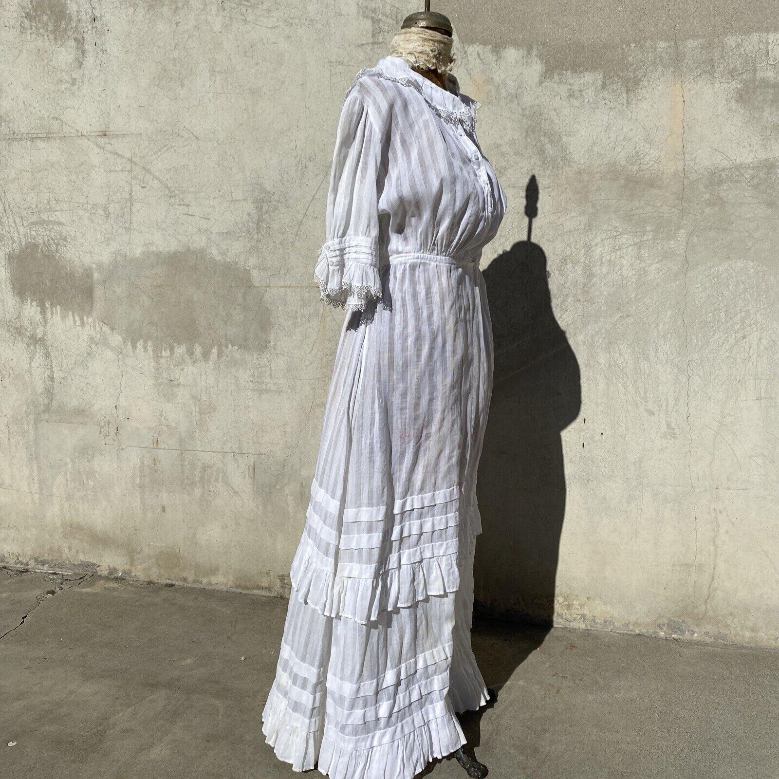 Antique Edwardian White Cotton Tea Dress Maxi Lac… - image 8