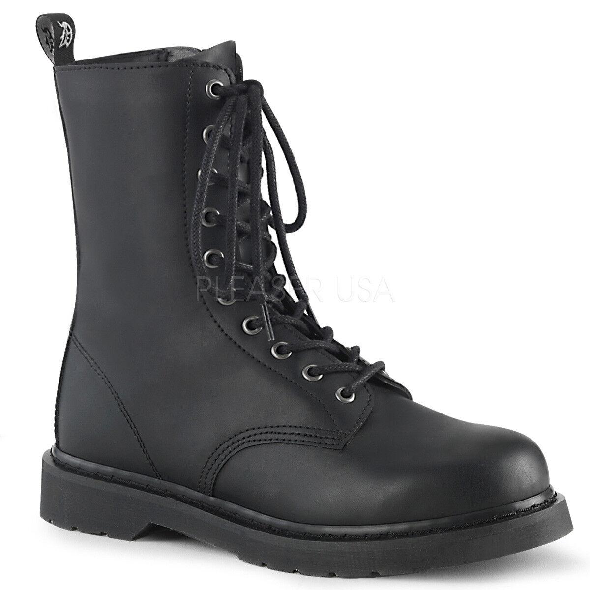 DEMONIA Mens Punk Goth Military Biker Combat Heel 10  Eyeelet nero Mid Calf stivali  memorizzare