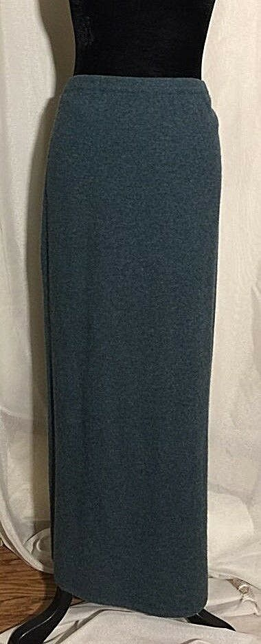 April Cornell For Cornell Trading Womens Large Lambswool Maxi Skirt bluee Modest